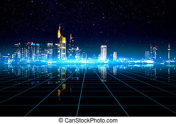 cityscape, francfort, allemagne, futuriste, manipulation
