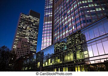 cityscape, francfort, soir, allemagne, reflet