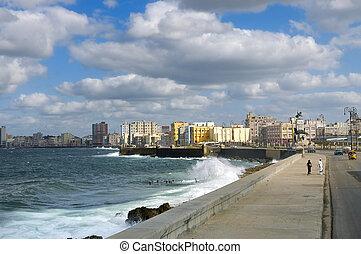 Cityscape from Havana Malecon, a broad promenade seawall along the coast. Taken on december 3rd, 2008 in Havana, Cuba.