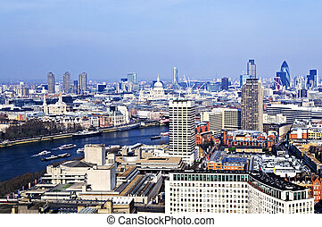 Cityscape from London Eye - Cityscape view of buildings and...