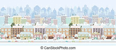 cityscape, frontière, panorama., hiver, seamless