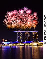 cityscape, fuego artificial, singapur, encima