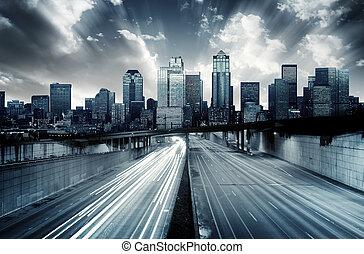 cityscape, futurista