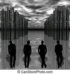 cityscape, futuristico, uomo