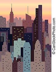 cityscape, géométrique, coucher soleil, illustration