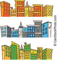 cityscape, gekleurde, doodle