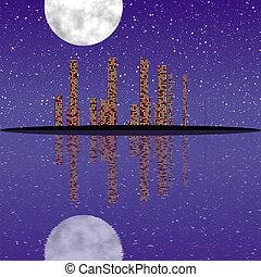 cityscape, generare, struttura, notte
