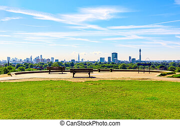 cityscape, gesehen, london, gelber schlüsselblume hügel
