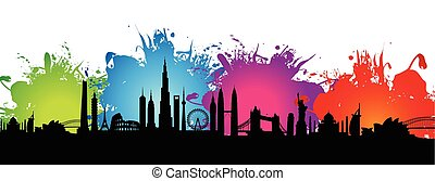 cityscape, gespetter, kleurrijke