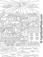 cityscape, gracieux, livre coloration, ton