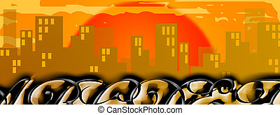 City silhouette background with graffito writings