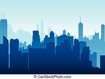 cityscape, grafico, illustrazione
