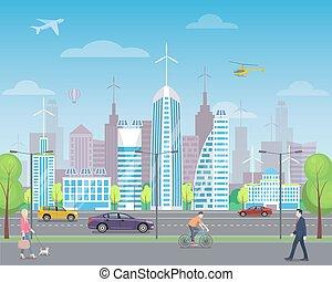 cityscape, grand, passers-by, gratte-ciel