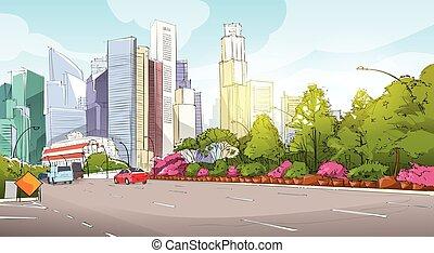 cityscape, gratte-ciel, vue, ville, croquis, rue