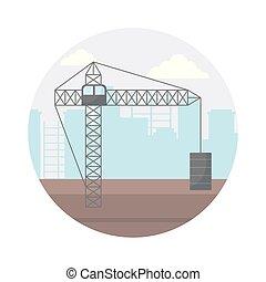 cityscape, gru, costruzione, torre