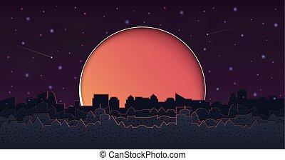 cityscape, gruppe, wolkenkratzer, night.