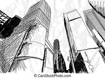 Cityscape - Hand drawn cityscape on white background