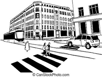Cityscape hand drawn sketch. Vector illustration of crosswalk, city street, people, tramway with tram, car and urban buildings.