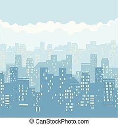 cityscape, hintergrund, illustration.vector, abbildung, von, modern, stadt, blau, himmelsgewölbe