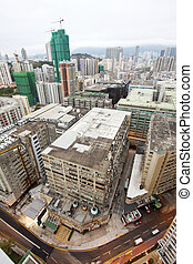 cityscape, hong kong, costruzioni, affollato