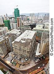 cityscape, hong kong, edificios, atestado