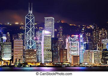 cityscape, hong kong, nuit