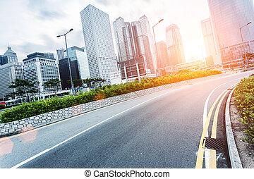 cityscape, hongkong, moderno, camino
