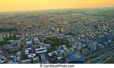 cityscape, horizon, crépuscule, yokohama