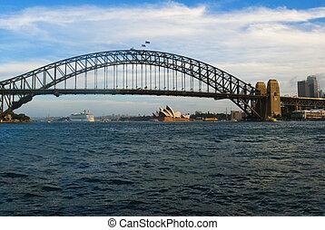 cityscape, hos, havn bro, sydney, australien