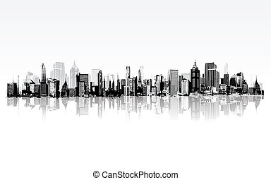 Cityscape - illustration of architectural building in...