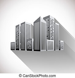 Cityscape illustration with long shadow