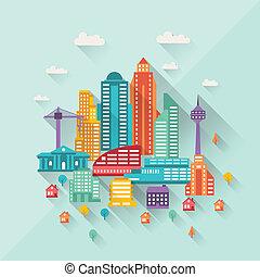 cityscape, ilustración, con, edificios, en, plano, diseño,...