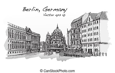 Cityscape in Germany. Berlin Cathedral. Old building hand drawn sketch, vector illustration