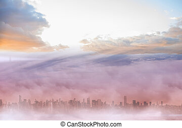 Cityscape in the clouds