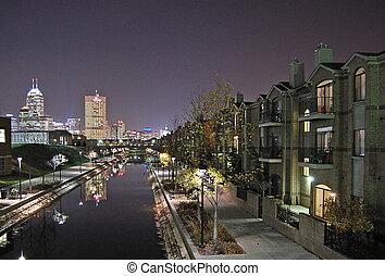 cityscape, indianapolis, noche