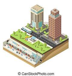 cityscape, isometric, conceito, coloridos