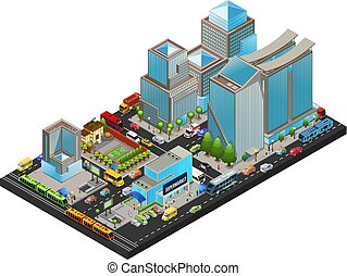 cityscape, isometric, conceito, modernos
