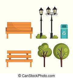 cityscape, jogo, elementos, ícones