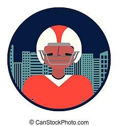 cityscape, joueur, football américain