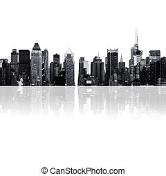 cityscape, -, körvonal, közül, felhőkarcoló