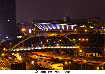Cityscape, Katowice, Poland - Cityscape of Katowice at nigh...
