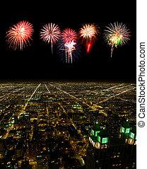 cityscape, kilátás, antenna, chicago