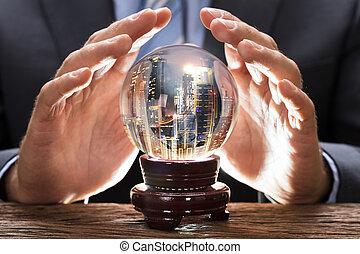 cityscape, kristale bal, zakenman, bedekking