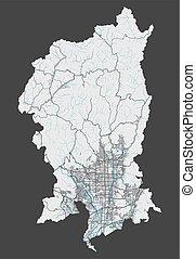 cityscape., kyoto, détaillé, illustration., ville, gratuite, carte, redevance, vecteur