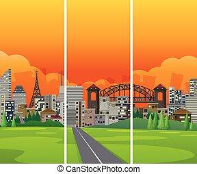 cityscape, lado, camino