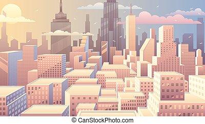 cityscape, levers de soleil