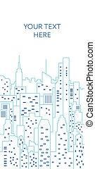 cityscape, ligne fixe, illustration., gabarit