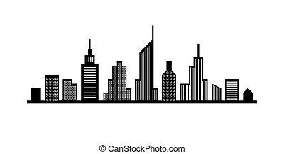 cityscape, lijn, ontwerp