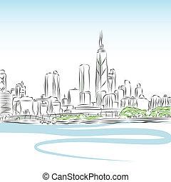 cityscape, lijntekening, chicago