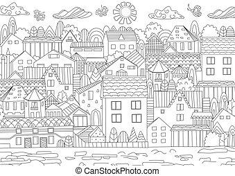 cityscape, livre, coloration, confortable, ton